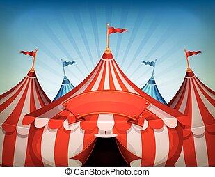 cima grande, circo, bandera, tiendas