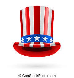 cima, hecho, sombrero, bandera, nosotros
