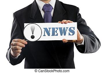 cima, homem negócios, ou, vendedor, segurando, em, mãos, lupa, e, papel, com, notícia, mensagem, isolado, branco, experiência.