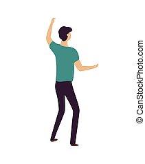 cima, homem, partido, mãos, dançar, clubber, levantamento