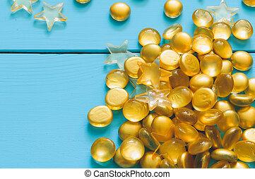 cima, imagem, de, amarela, mármores, ligado, azul, madeira, fundo