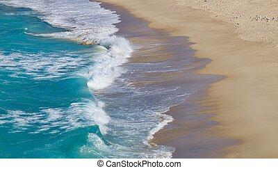 cima, imagem, -, dobrar, ondas, praia, arenoso