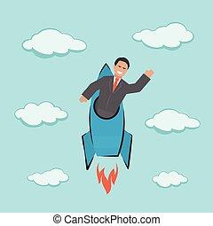 cima., início, conceito, ilustração negócio