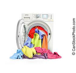 cima, isolado, lavadora roupa, fim, carregado, roupas
