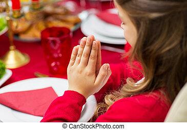 cima, jantar, fim, menina, orando, Natal