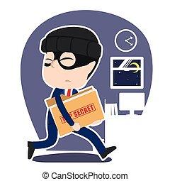 cima, ladro, segreto, asiatico, rubare, uomo affari, cartella, documento