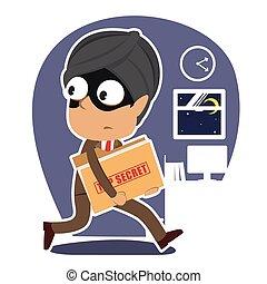 cima, ladro, segreto, indiano, rubare, uomo affari, cartella, documento