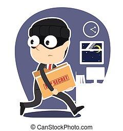 cima, ladro, segreto, rubare, uomo affari, cartella, documento