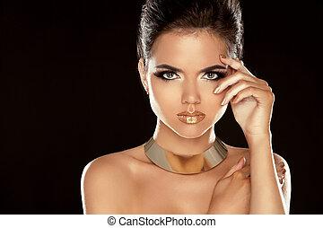 cima., lady., hairstyle., beleza, fazer, corte cabelo, isolado, makeup., glamour, experiência., mulher, pretas, portrait., deslumbrante, elegante, menina, moda, style., voga