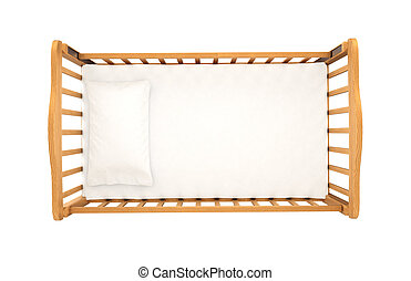 cima legno, isolato, fondo, culla, bambino, bianco, cuscino...