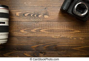 cima legno, lente, macchina fotografica, telefoto, fondo, ...