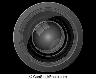 cima, lente, câmera, frente, fim, vista