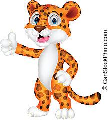 cima, leopardo, caricatura, polegar