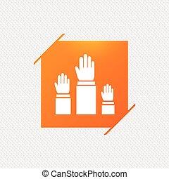 cima., levantado, sinal, eleição, mãos, icon., votando, ou