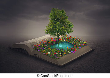 cima, libro, oasi