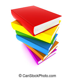 cima, libros, pila, multicolor, vista