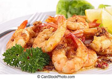 cima, ligado, cozinhado, camarão, e, salsa