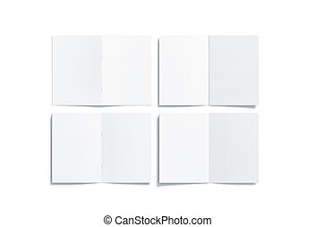 cima, livreto, costas, a5, em branco, frente, branca, multi-page, lado, escarneça