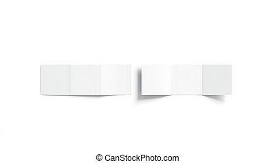 cima, livreto, topo, em branco, branca, trifold, escarneça, vista