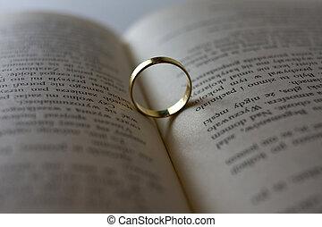 cima, livro, casório, fim, anel, abertos, mentindo