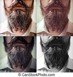 cima, longo, fim, composição, bigode, barba