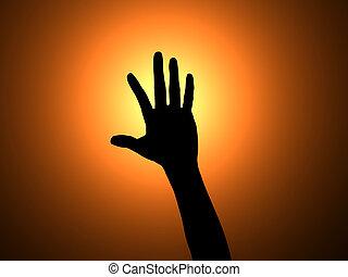 cima, mão