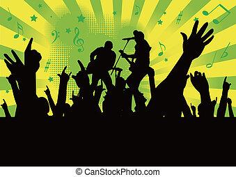 cima, mãos, concerto, pessoas