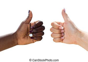 cima., mãos, dois, femininas, polegares