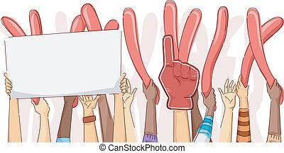 cima, mãos