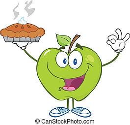 cima, maçã verde, segurando, torta