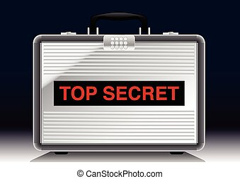 cima, maleta, metal, secreto, debajo, proyector