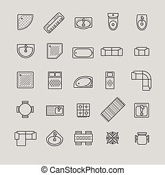 cima, mobilia, icone, vista