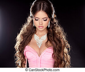 cima., moda, hairstyle., beleza, fazer, isolado, experiência., mulher, pretas, deslumbrante, colar, portrait., menina