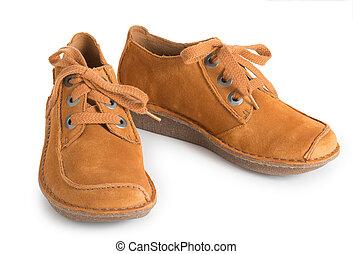 cima., moda, mulheres, sapatos, couro, isolado, fundo, elegante, par, fim, branca, camurça