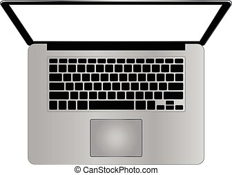 cima, moderno, laptop, vista