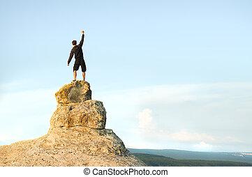 cima, montagna, uomo