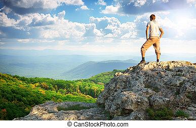 cima, mountain., uomo