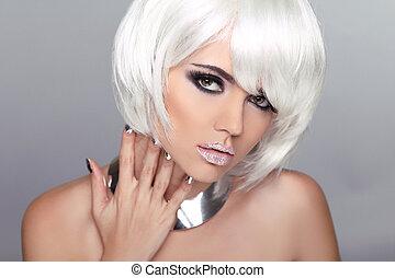 cima., mulher, hairstyle., beleza, fazer, girl., shortinho, loura, hair., retrato, branca, moda, style., voga