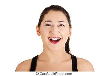 cima., mulher, olhando jovem, retrato, espantado, feliz