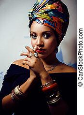 cima, mulher, semelhante, beleza, cubian, fazer, cabeça,...
