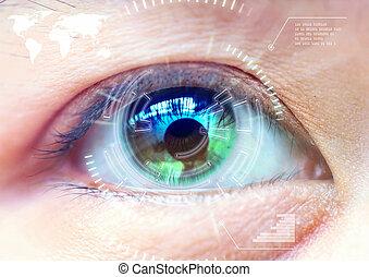 cima, mulheres, olho, exploração, tecnologia, em, a, futurista, operação, olho, cataract.