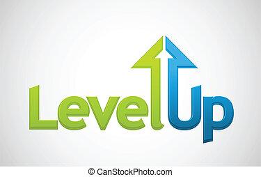 cima, nível, vetorial, mensagem