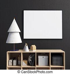 cima., natal, credenza, cartaz, modernos, ilustração, escandinavo, interior, style., escarneça, 3d
