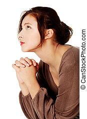 cima., olhar, mulher, jovem, orando