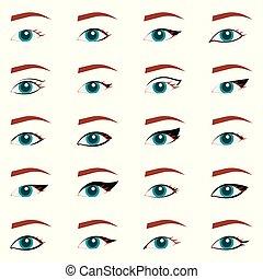 cima., olho, tutorial., beleza, fazer, revista, eyeliner, makeup., gato, livro, tipos, elegante, artigo, voga