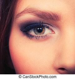 cima., olhos, mulher, compor, fim