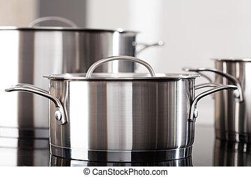 cima, ollas, aluminio, cocina