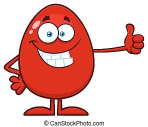 cima., ovo, mostrando, personagem, polegares, sorrindo, páscoa, caricatura, vermelho, mascote