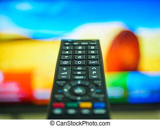 cima, passe segurar, controle remoto televisão