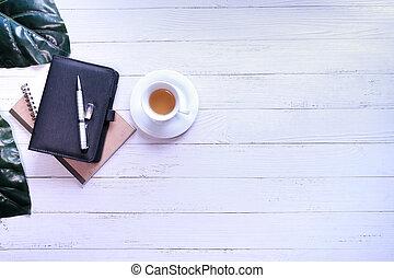 cima penna, vista, tavola, blocco note, spazio, tè, copia